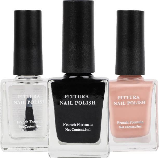 MINISO Pittura Nail Polish Combo(38Transparent+01 Black+06Peachy Beige) Transparent, Black, Peachy