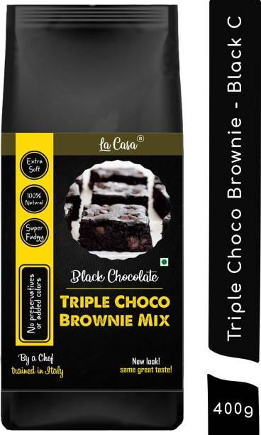 La Casa Triple Chocolate Brownie Mix - Black Chocolate   Fudgy   All Natural   400 g
