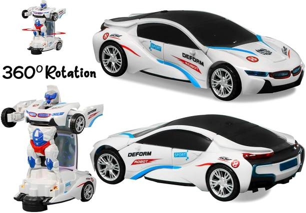 Toyvala Advanced Robot Car for Kids, Bump & Go Action 2 in 1 Deformation Robot Car Toy with 3D Light and Music, Transformer Car for Boys (White)