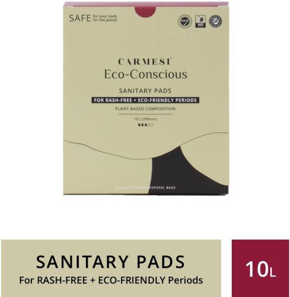 carmesi Eco-Conscious - Sanitary Pads for Rash-Free + Eco-Friendly Periods (10 Large) Sanitary Pad