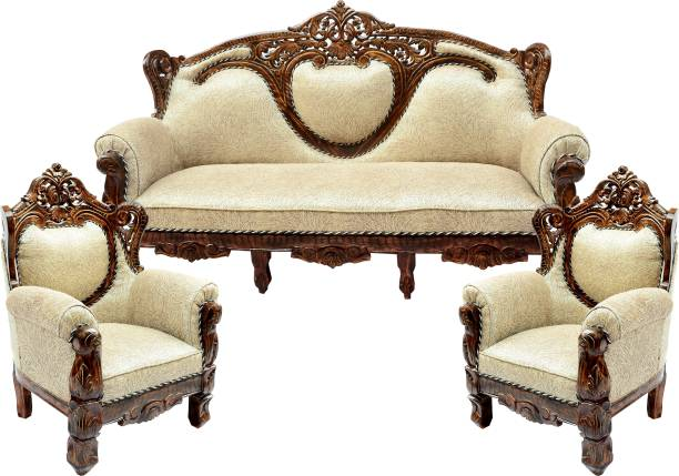 C.K.Handicrafts Wood Sofa Set for Home Living Room Wooden Sofa Set 3+1+1| 5 Seater Sofa Set Furnitures Color of Honey Brown. (polished Finish) Fabric 3 + 1 + 1 Honey Brown Sofa Set