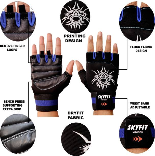 SKYFIT Super Dryfit Leather Padded Gym Sports Riding Gloves Gym & Fitness Gloves