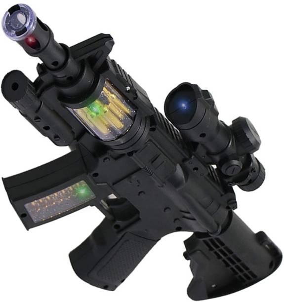 Toyvala Gorgeous Musical Sub Machine Gun Toy Rifle - Toy Machine Gun Features Flashing Light, Amazing Electronic Sound & Unique Action With Vibration Measuring 37 Cms Guns & Darts