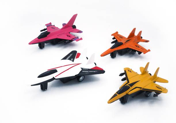 Toyshack DIE-CAST FIGHTER PLANE PULL BACK SET (Pack of 4)