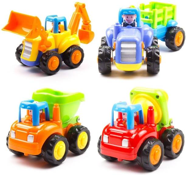 Kidzy unbreakable NON-BATTERY operated BUILDING construction & FARMING combo with JCB CRANE toy & TRACTOR trolley wagon & TRUCK dump vehicle & cement MIXER kit under pull & release drive mechanism ride