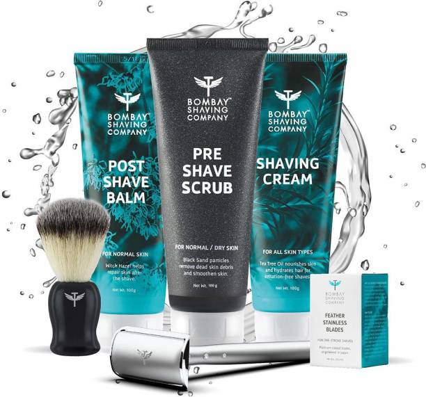 BOMBAY SHAVING COMPANY 6-in-1 Shaving Kit With Precision Safety Razor- Exfoliating Scrub, Shaving Cream, Post-Shave Balm & Feather Blades | Made in India