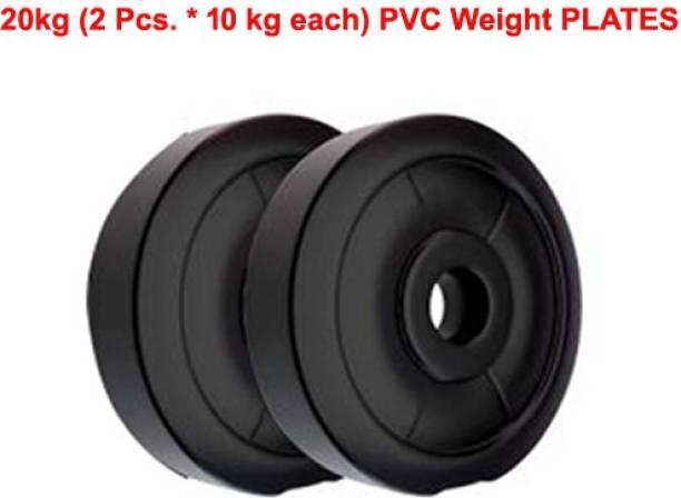 L'AVENIR FITNESS 20kg (10kg * 2pcs.) PVC Weight Lifting Black Weight Plate