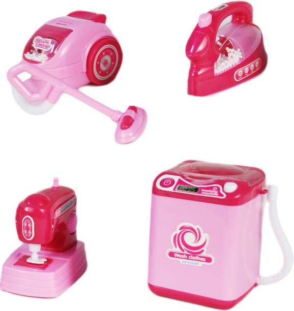 Miss & Chief Play set - Washing Machine, Iron box, Sewing Machine & Vacuum Cleaner