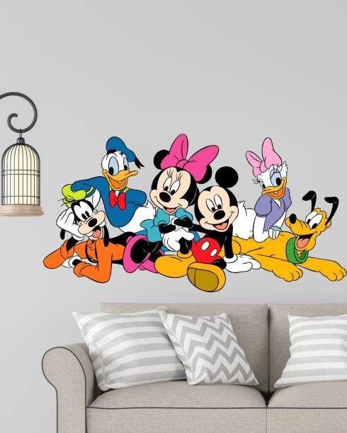 RNG Medium DISNEY CARTOON GROUP MICKEY MOUSE,MINNIE MOUSE, DONALD DUCK 3d pvc vinyl home décor wall sticker with hd color