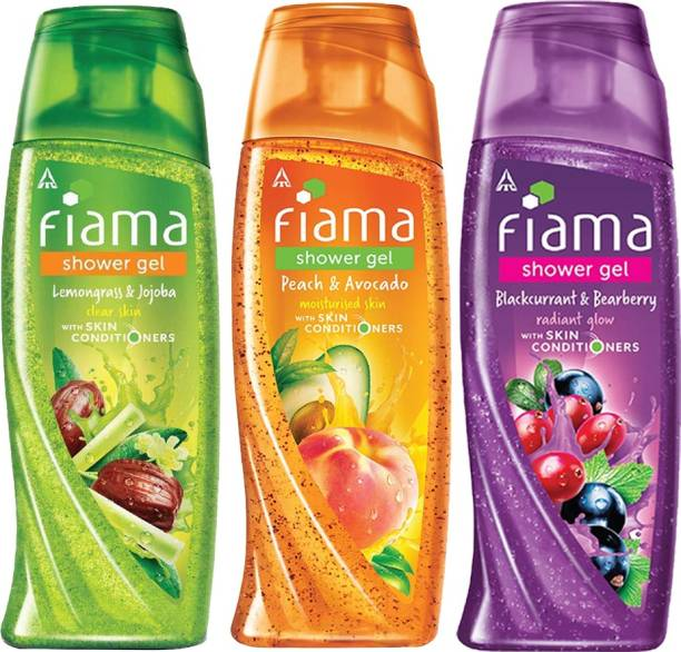 FIAMA Shower Gel Lemongrass & Jojoba, Blackcurrant & Bearberry , Peach & Avocado - Pack of 3