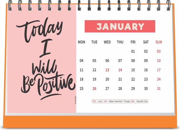 ESCAPER Today I will Positive 2021 Motivational Table Calendar (A5 Size - 8.5 x 5.5 inch - 12 Pages Month Wise), Desk Calendar 2021 2021 Table Calendar