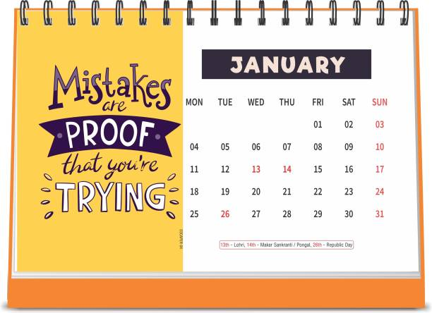 ESCAPER Mistakes are Proof 2021 Motivational Table Calendar (A5 Size - 8.5 x 5.5 inch - 12 Pages Month Wise), Desk Calendar 2021 2021 Table Calendar