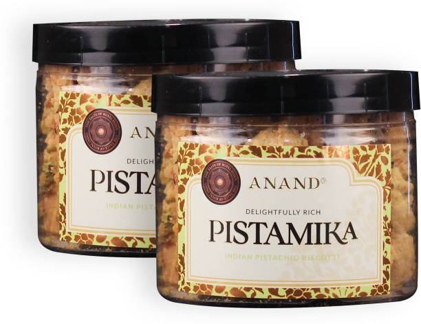 Anand Indian Biscottis Pistamika with Pure Butter and Premium Pista Nut Cookie (Pack of 2) Biscotti