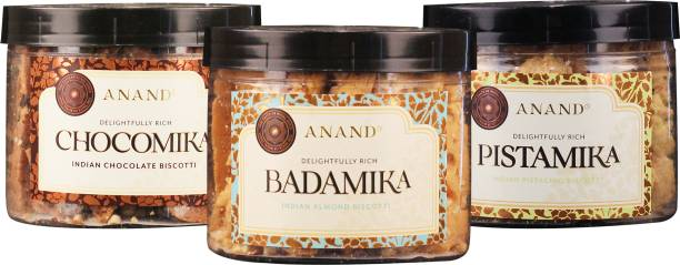 Anand Premium Biscuits Combo- Badamika,Pistamika and Chocomika Made with Pure Butter and Superior Nuts Cookie (Pack of 3) Biscotti