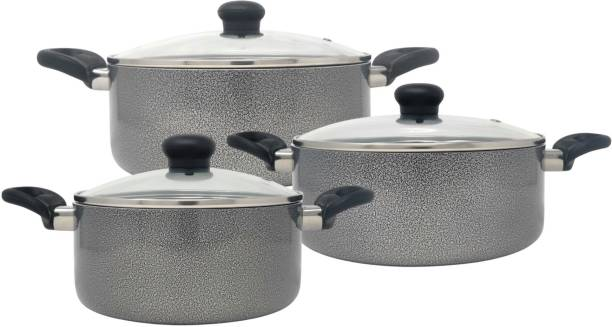 Kreme DELUXE 3mm NonStick Induction Bottom Casserole 215 + 235 + 255 Set of 3 pcs Induction Bottom Cookware Set