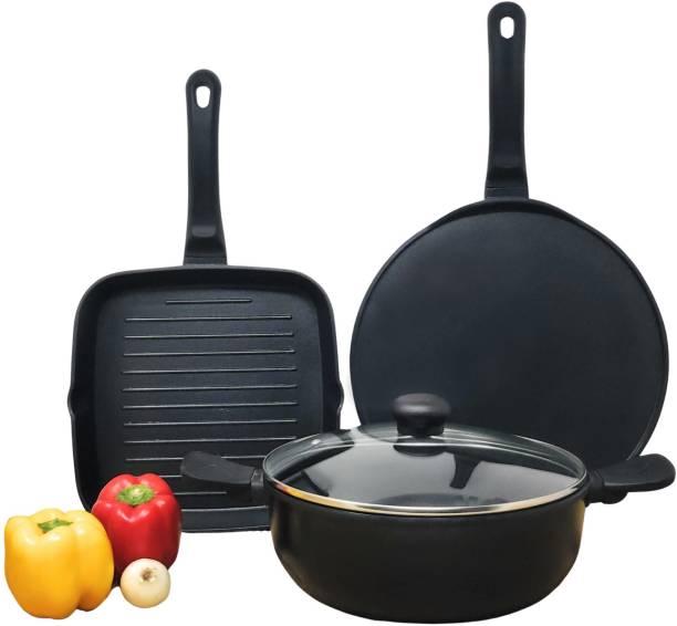 Kreme Die Cast NonStick Kadai + Grill Pan Flat Tawa Set of 3 pcs Cookware Set