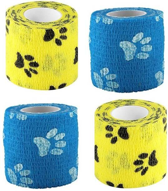 Agam A-Tape Cohesive Self Adhesive Elastic Crepe Bandage Yellow & Blue Paw Prints (5 cm X 4.5 Meters) Pack of 4 Crepe Bandage