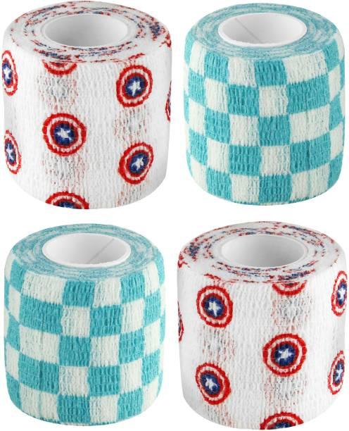 Agam A-Tape Cohesive Self Adhesive Elastic Crepe Bandage Captain America & White Check (5 cm X 4.5 Meters) Pack of 4 Crepe Bandage