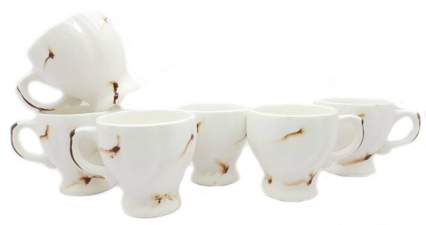 laghima jadon Pack of 6 Ceramic ceramic Worldcup Shape Latest Design (White and Brown) Set of 6 Coffee cup Ceramics Tableware ,Cup Set for Tea cups 80ML