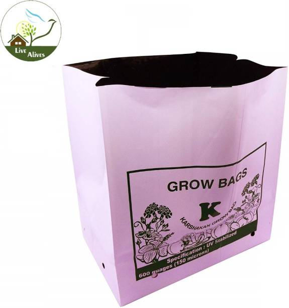 live with alive Grow Bags (Set of 5) Extra Large 100% Pure Virgin Grow Bags UV Stabilized Extra Strong Size;L28 X W28 X H50CM Grow Bag