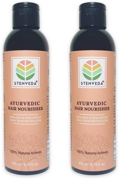 STEMVEDA Ayurvedic Hair Nourisher for Daily Use (Pack of 2) | Modern Replacement for Hair Oil & Hair Serum for Women & Men | Non Sticky, Non Greasy Hair Revitalizer Enriched with Aloe Vera, Bhringraj, Brahmi, Amla & 13 More Herbal Extracts for Hair Fall Control, Dandruff Control & Hair Growth Hair Oil
