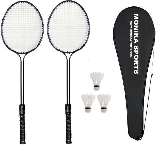Monika Sports 2 Double Shaft Badminton Racquet + 3 pc Feather Shuttle + 1 Cover Badminton Kit