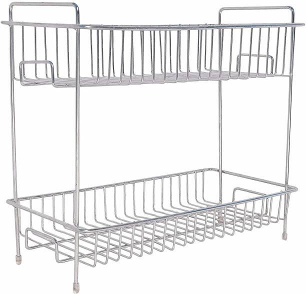 8shiyon Stainless Steel Kitchen Utensil Rack/ Spice Rack/ Jar Rack/ Storage Organizer. (Silver- Chrome). Fruits/Vegetables Kitchen Rack