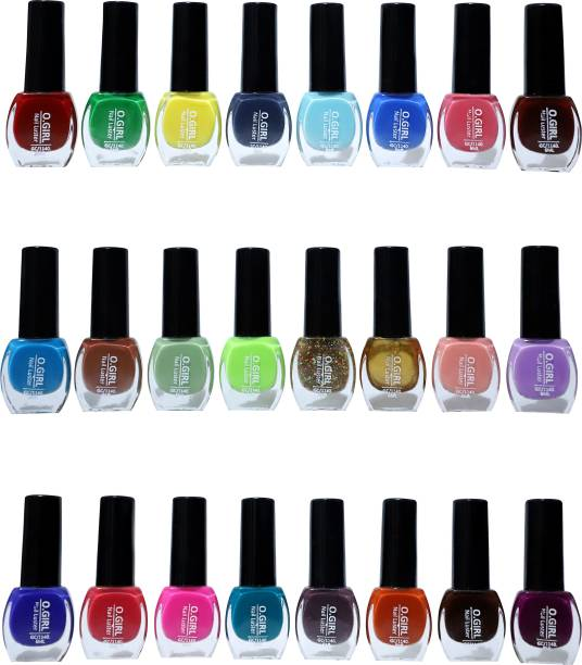 o girl OGIRL Glossy Shine Finish 24 Pcs Nail Polish Set in Wholesale Rate Magenta,Dark Nude,Peach,Tan,Light Pink,Candy Cotton,Plum,Nude Spring and Many More (Pack of 24) QUECPINK, VIOLET, VIOLETLOVENDER, DARKWINE, SKYBLUE, LEMON YELLOW, PINEGREEN, BLUE C PERPOL, OXFORD BLUE, MILKPINCH, KUSHIYAPINK, PUNCH, NEVY BLUE, EMBARD, GREEN YELLOW, DARKGOLDEN, MULTI GLITER, BLUDY RED, AQAU, DIPRED, DARK ORANGE, HOREST GREEN, WHITE WINE