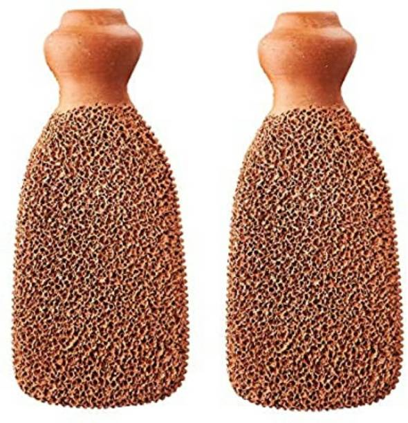 gaudee GD Natural Terracotta Pumice Scrubber for Foot, Heel, Elbow and Body (PACK OF 2) Handmade Organic Clay Eco Friendly Dead Skin Remover Women Men