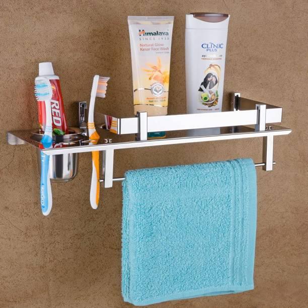 LERICON High Grade Stainless Steel 3 in 1 Multipurpose Bathroom Shelf/Rack/Towel Hanger/Tumbler Holder/Bathroom Accessories Steel Toothbrush Holder