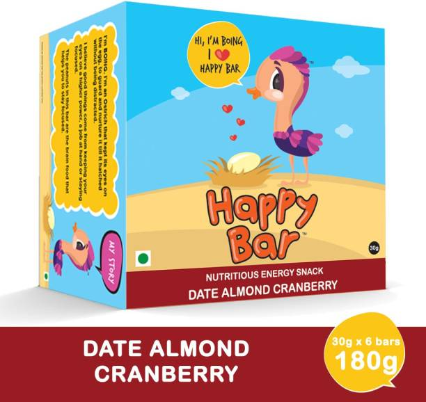 Happy bar Date Almond Cranberry Nutritious Protein Energy Bar - Box of 6