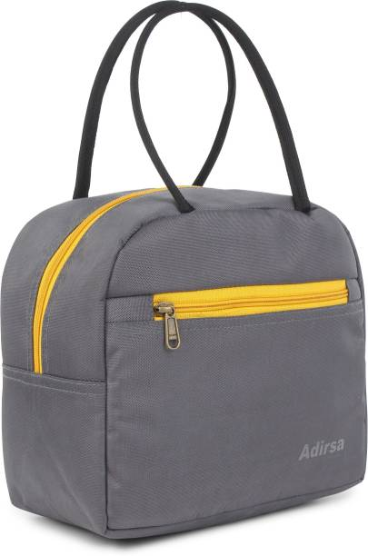 ADIRSA LB3009 GREY Lunch Bag for Office Men, Women and Kids, Leak Proof Water Resistant Polyester Made Lunch Tiffin Bag for School, Picnic, Work, Carry Bag for Lunch Box Waterproof Lunch Bag