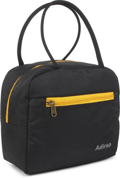 ADIRSA LB3009 BLACK Lunch Bag for Office Men, Women and Kids, Leak Proof Water Resistant Polyester Made Lunch Tiffin Bag for School, Picnic, Work, Carry Bag for Lunch Box Waterproof Lunch Bag