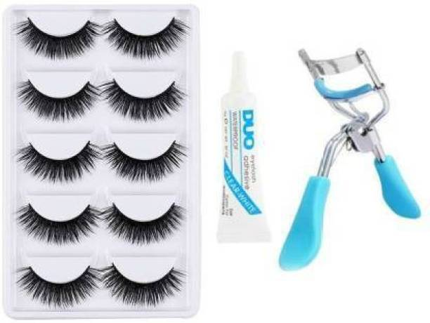 GLAMHI False Eyelashes-Set of 5, Eyelashes Glue & Eyelash Curler (7 Items in the set)