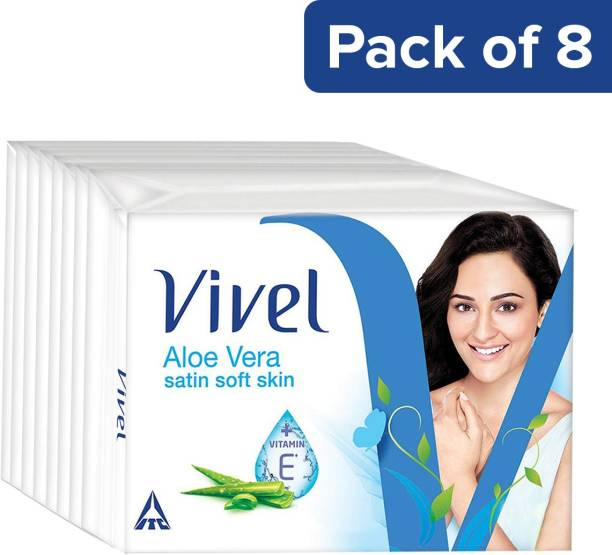 Vivel Aloe Vera Bathing bar, 150g (Pack of 8)