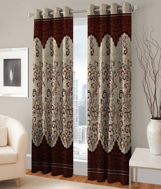 Saanvi Creations 152 cm (5 ft) Polyester Window Curtain (Pack Of 2)