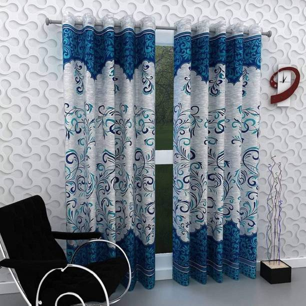 Saanvi Creations 213 cm (7 ft) Polyester Door Curtain (Pack Of 2)