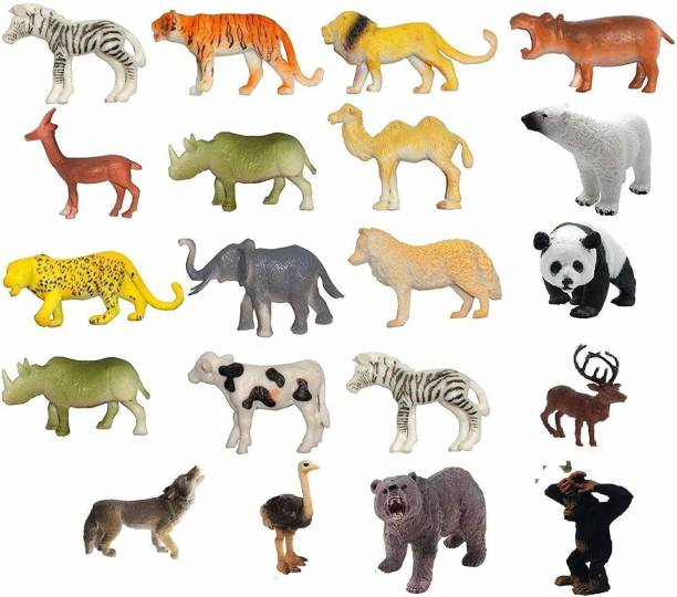 vworld Amazing Realistic Small Size Wild Safari Zoo African Jungle Animals Plastic Figures Toys Play Set with Jungle Map- Elephant, Giraffe, Lion, Tiger, Gorilla Etc. for Kids -20 Piece