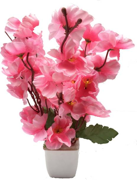 PLERIZA Pink Cherry Blossom Artificial Flower  with Pot