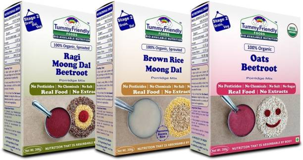 TummyFriendly Foods Certified USDA Organic Stage2 Sprouted Porridge Mixes Combo Pack  Sprouted Ragi, Brown Rice, Oats, Dal & Vegetable   200g Each, Cereal
