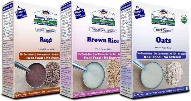 TummyFriendly Foods Certified USDA Organic Stage1 Sprouted Porridge Mixes Combo Pack| Sprouted Ragi, Sprouted Brown Rice and Oats | 200g Each, Cereal