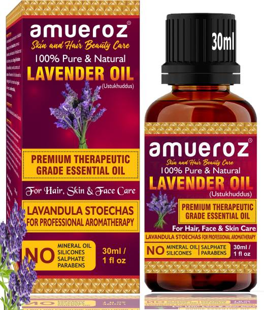 Amueroz Lavender Essential Oil (30 ml) - 100% Pure, Natural & Undiluted - Therapeutic Grade idea for Detoxifies and Rejuvenates Skin, Stimulates Hair Growth and Promotes Sound Sleep.