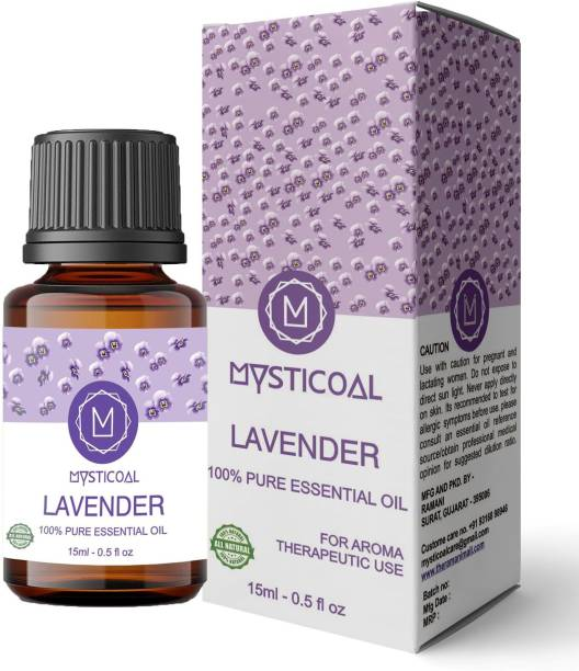 Mysticoal Lavender Essential Oil, 100% Natural & Pure, 15ml, for Hair, Skin, Face, Relaxing Sleep & Aroma Diffuser