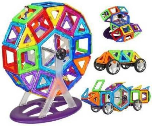 Joy Bukket 52 Pcs Mag-Magic DIY Magnetic Designer Construction Set Model and Building Toy Plastic Magnetic Blocks Educational Toys for Kids