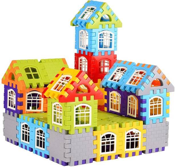 vworld Big Size Building Blocks for Kids – 60 Pcs, House Building Blocks with Windows, Block Game for Kids -Multicolor