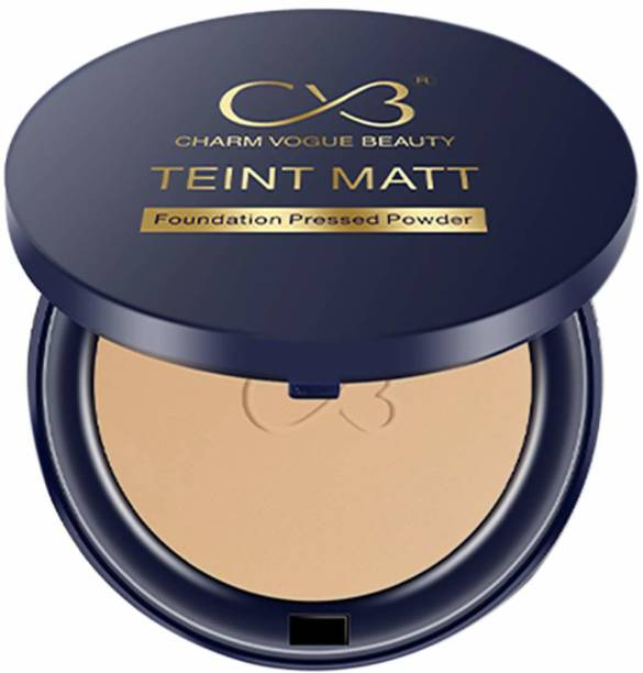 CVB C02-03 2 in 1 Teint Matt Foundation Pressed Compact Powder for Buildable Full Coverage & Matte Finish Compact