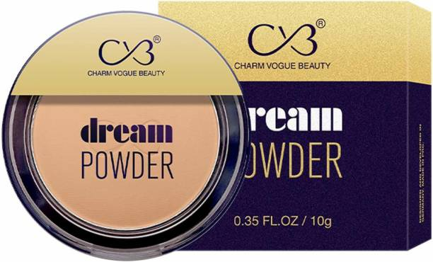CVB C73-04 Dream Pressed Face Powder for Buildable Full Coverage, Non-Cakey & Matte Finish (01 WHITE IVORY, 10g) Compact