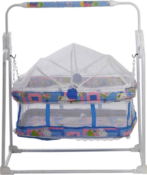 NHR Baby Jhula/Cradle in Blue Color with Mosquito Net (Blue)