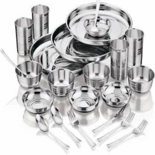 VBSTEEL Pack of 24 Silver Plated V STEEL Pack of 24 Stainless Steel Sttainless Steel high Quality Heavy gauge 24 pcs Dinner Set Dinner Set (Microwave Safe) Dinner Set