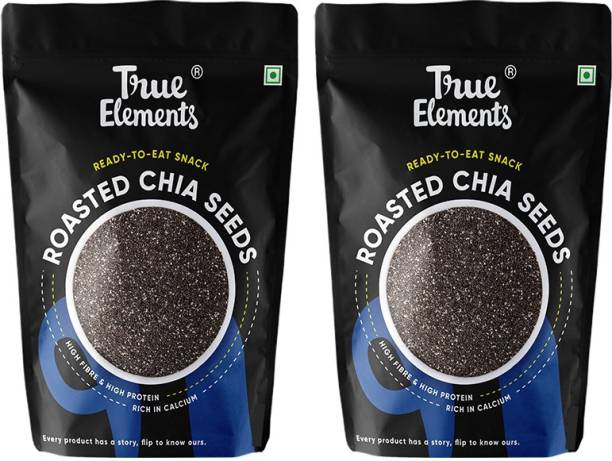True Elements Roasted Chia Seeds, High Fibre & Protein, Ready to Eat Snack